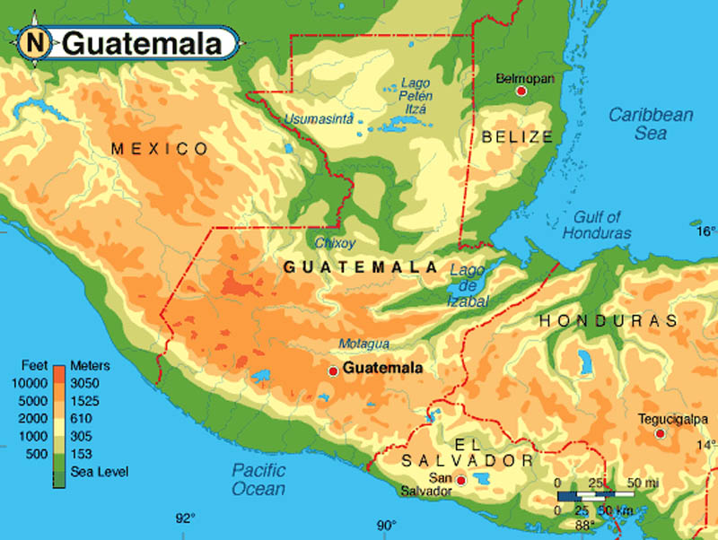 Guatemala Land and Borders